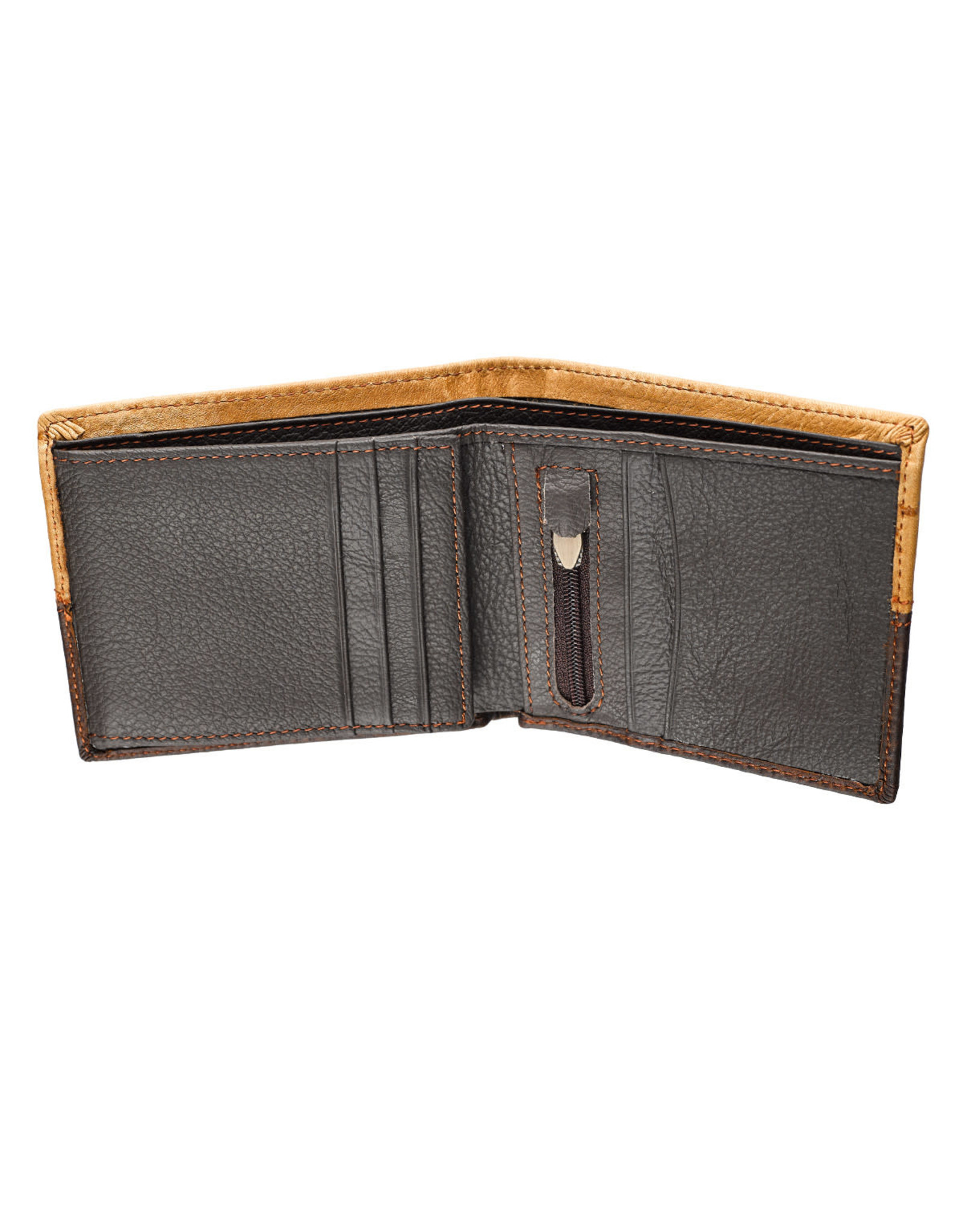Two-Tone Genuine Leather Wallet With Cross Stud