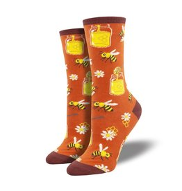 Socks Bee My Honey Burnt Orange Womens