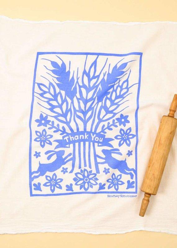 Kei & Molly Flour Sack Dish Towel - Thank You Blue