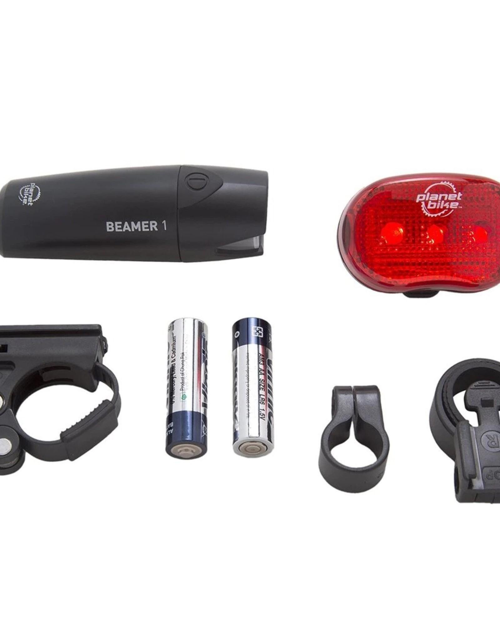 Planet Bike Planet Bike Beamer 1 Headlight + Blinky 3 Taillight Set