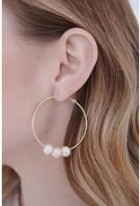ERDUTZA 3 PEARL HOOP EARRING