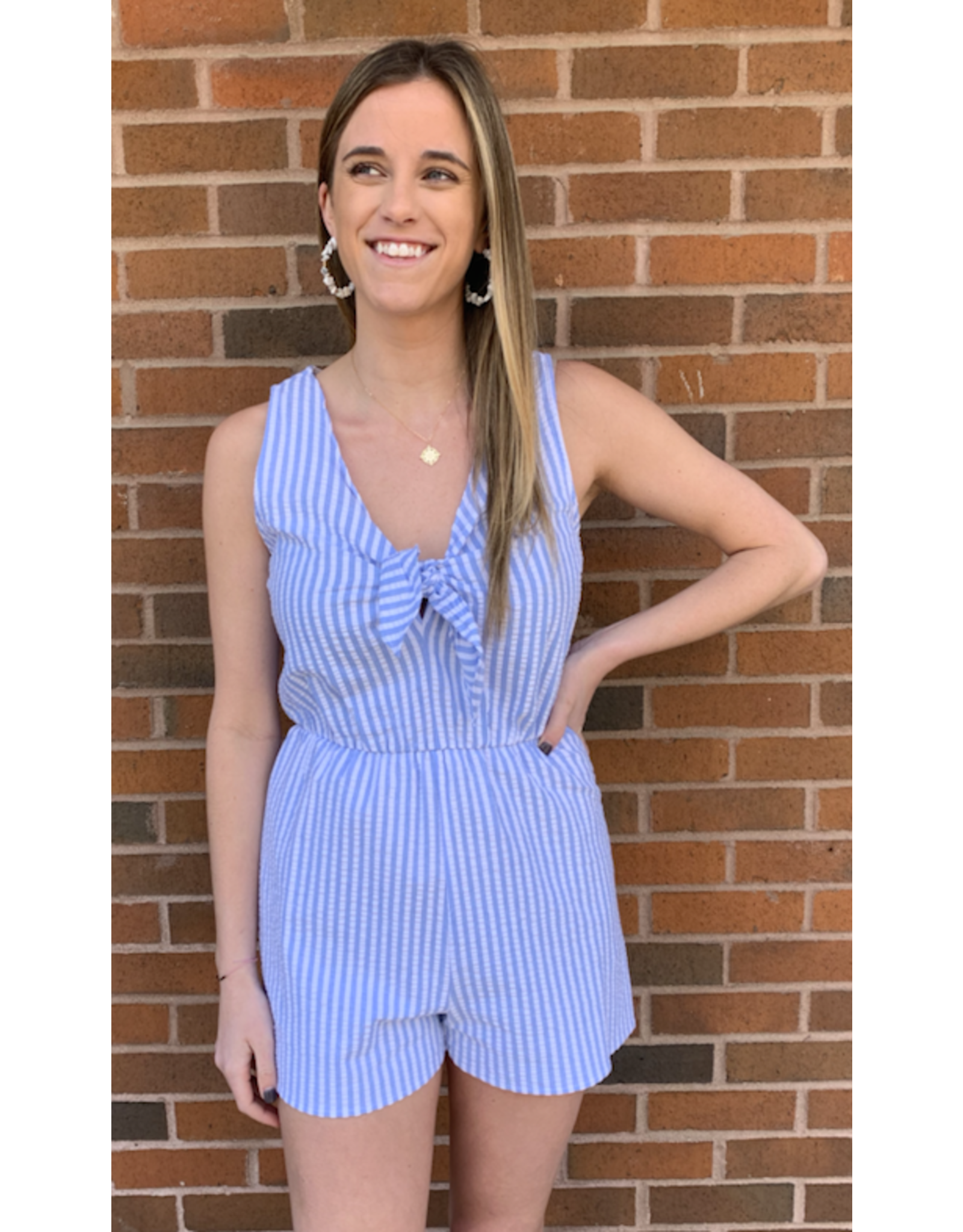 FLAMINIA KNOT FRONT SLVLESS ROMPER