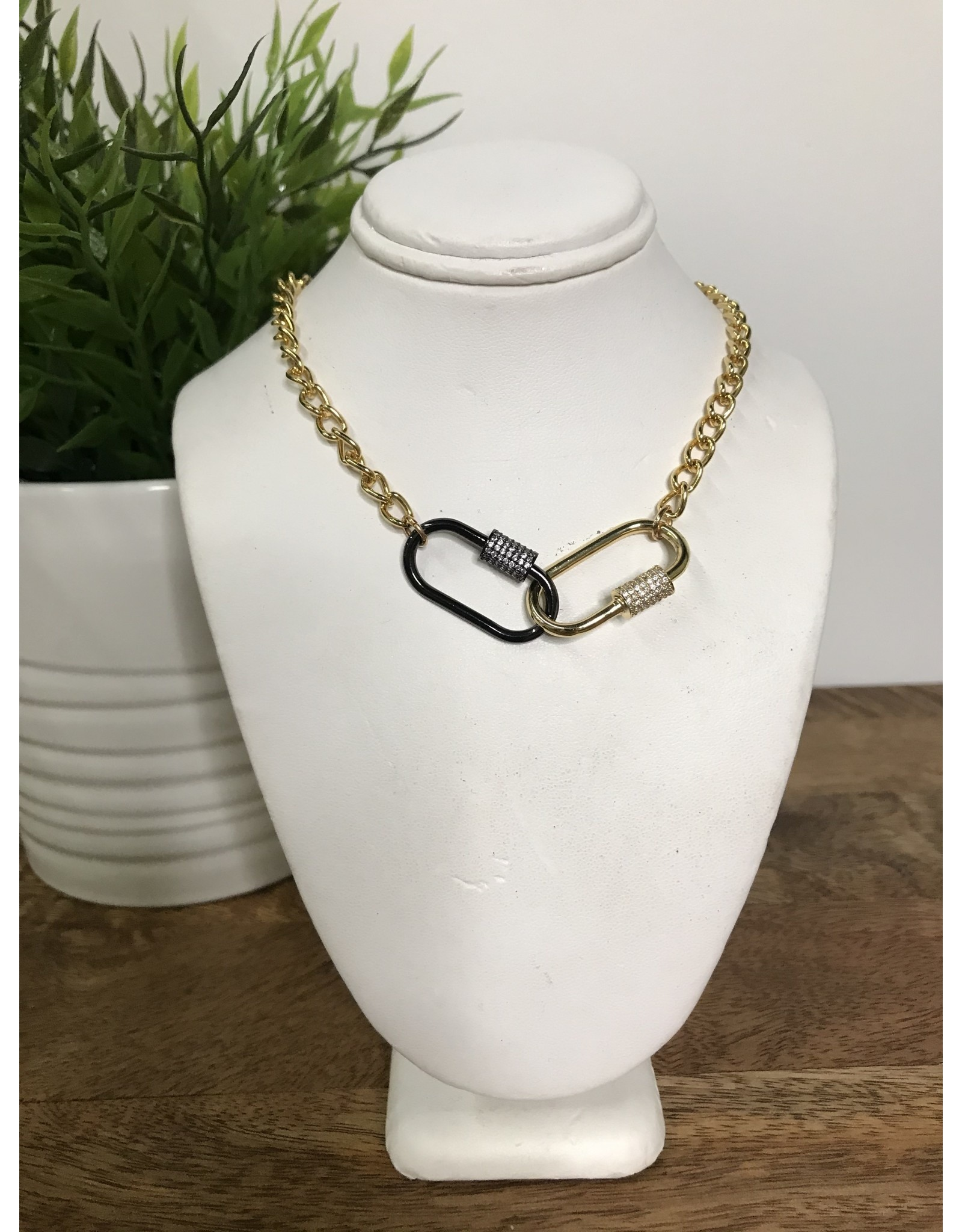 GEMELLI DOUBLE LOCK PAVE NECKLACE