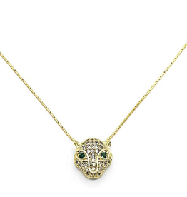 GYPSET HONEY EMERALD PANTHER NECKLACE