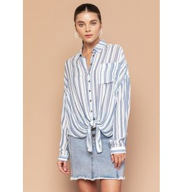 THE GOOD JANE STELLA TIE FRONT STRIPE TOP