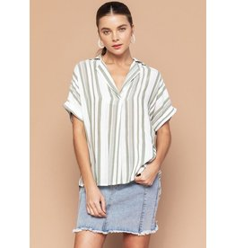 THE GOOD JANE STEPHANIE STRIPE SHORT SLEEVE TOP