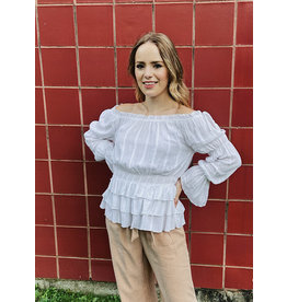 NURIA OFF SHOULDER RUFFLE TOP
