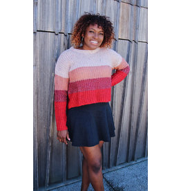 KAINO COLOR BLOCK SPECKLED SWEATER
