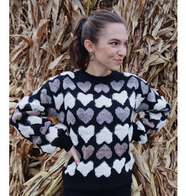 MOLLY BRACKEN MAGALI HEART PRINT SWEATER