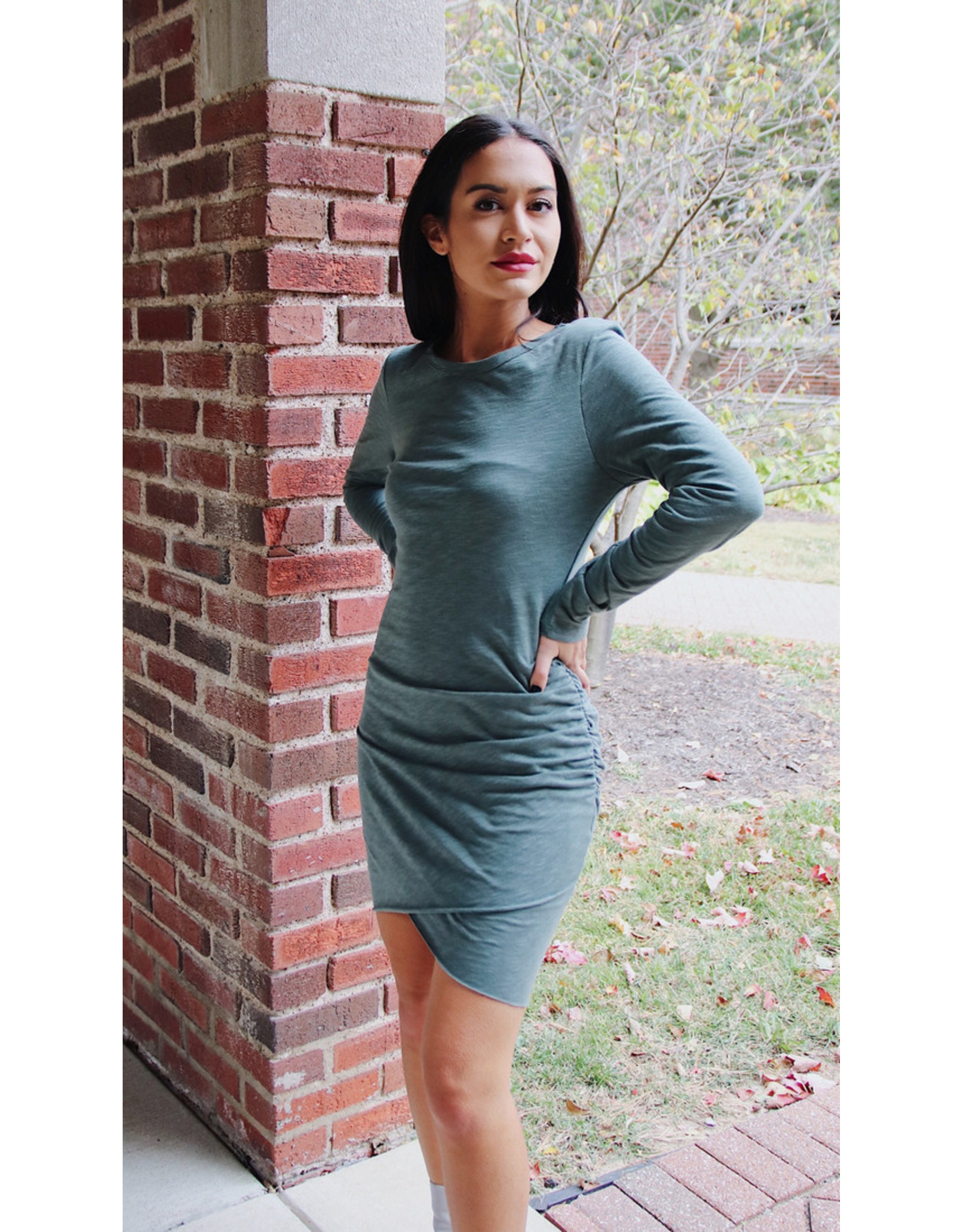 SANCHIA SIDE RUCHED DRESS