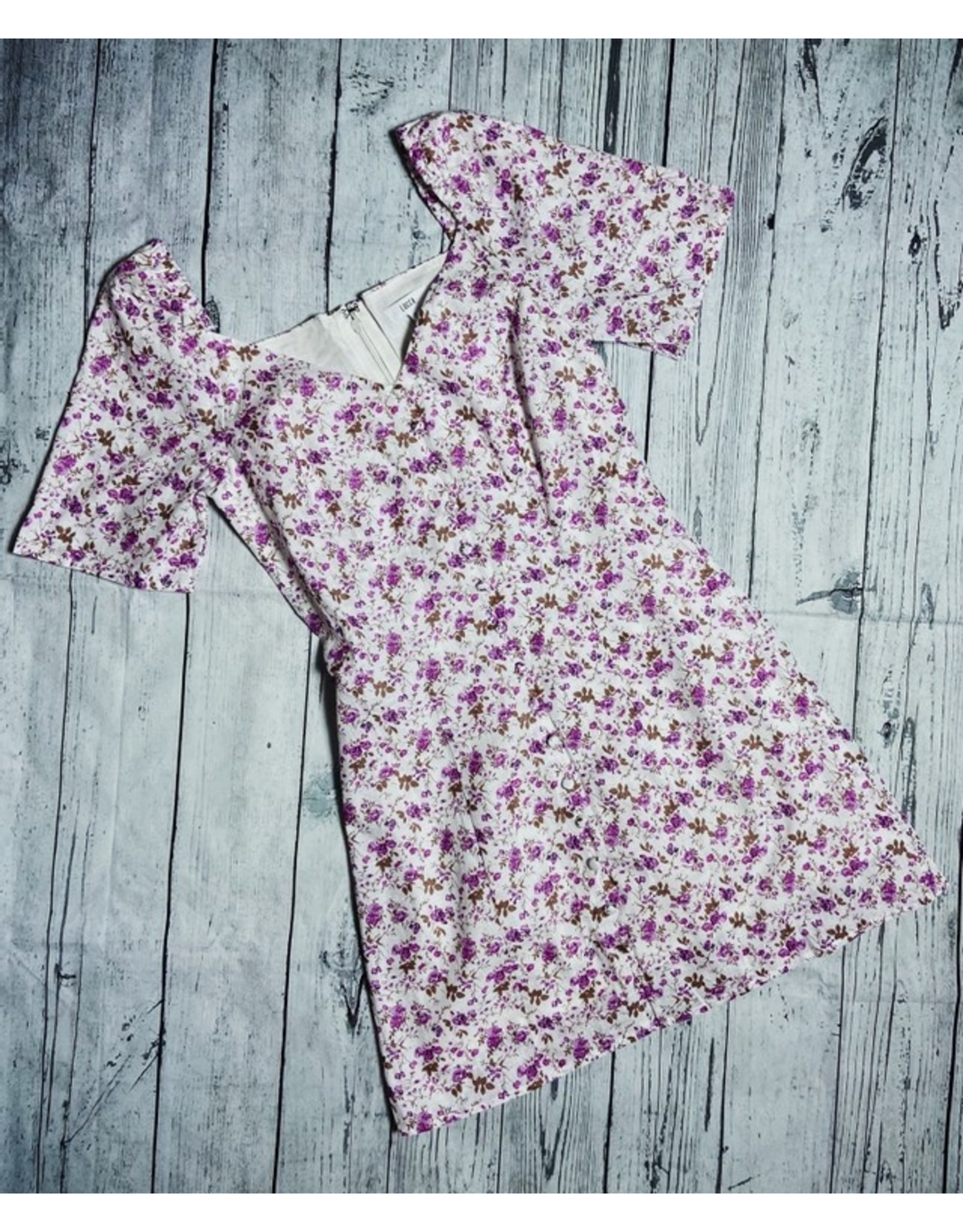 LUCCA DARLA PUFF S/S BUTTON FRONT DRESS