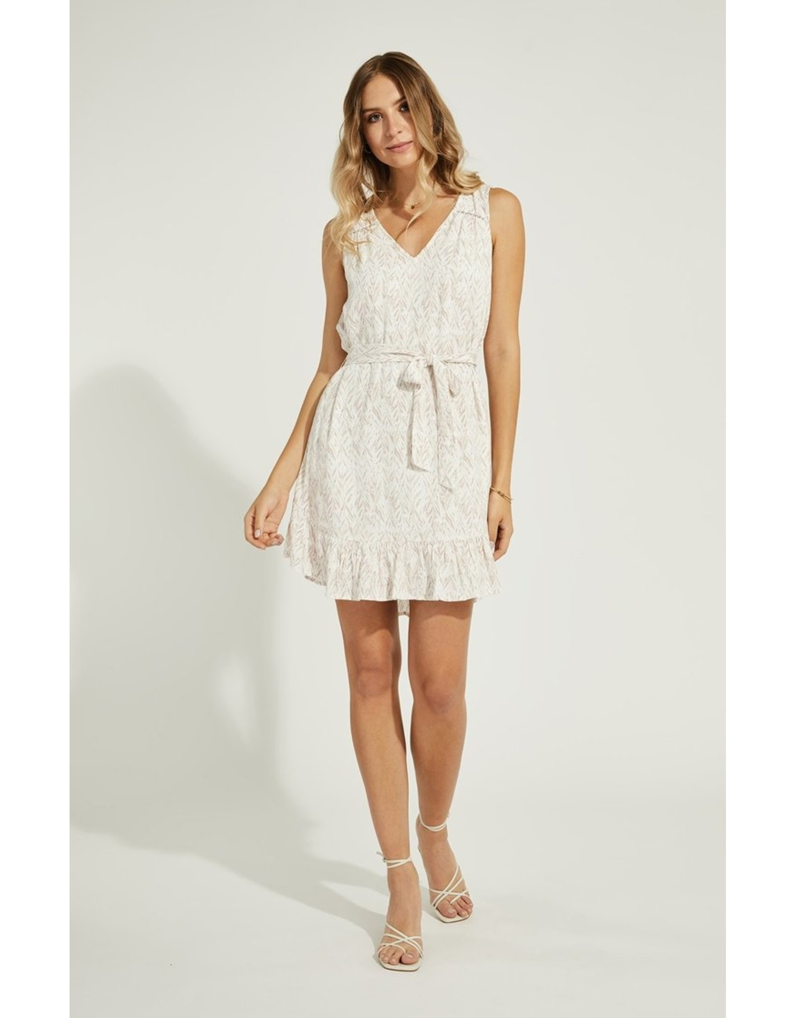 GENTLE FAWN PIXEL DRESS W/ WAIST TIE
