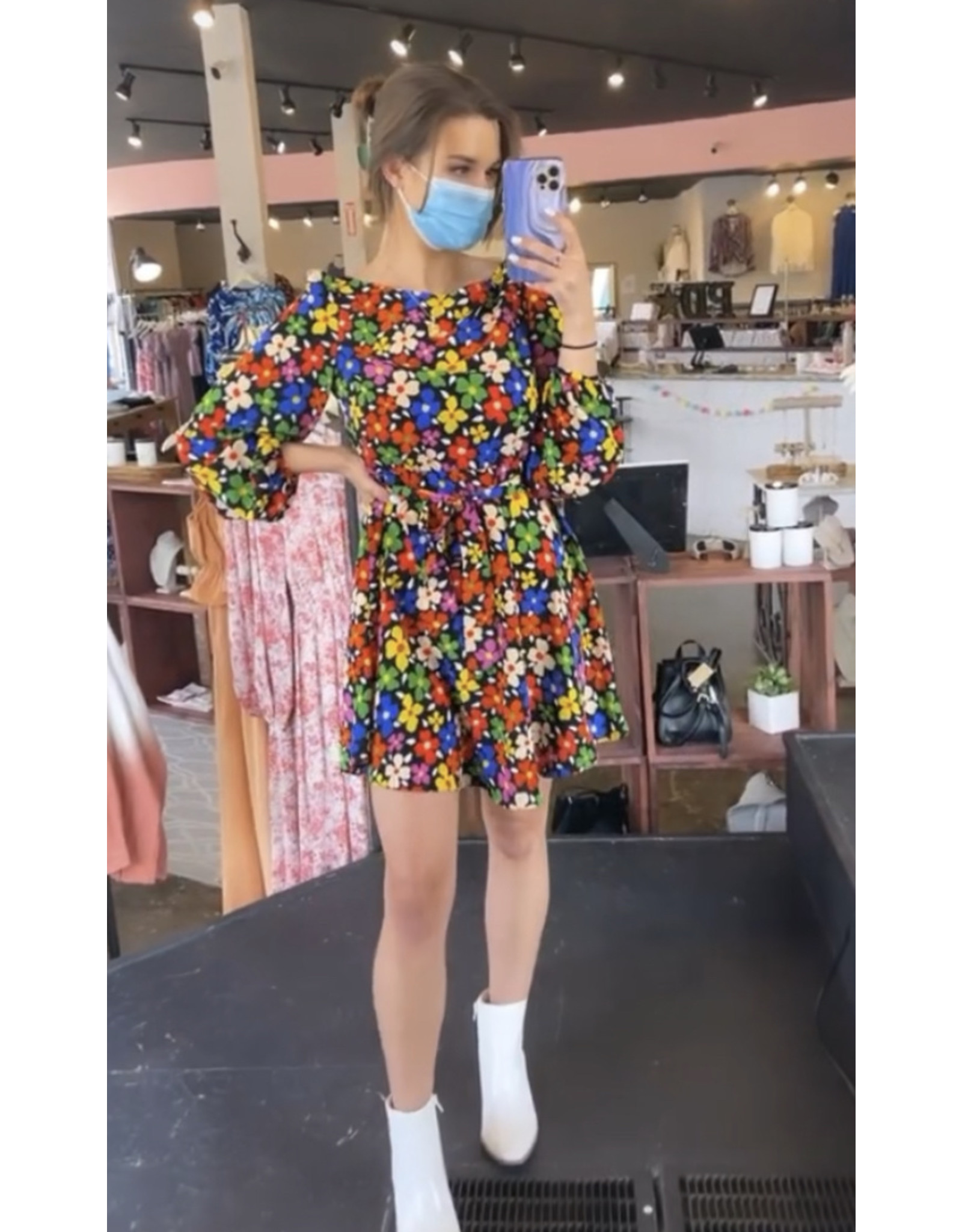 TRAFFIC PEOPLE LILY BRIGHT FLORAL PRINT DRESS