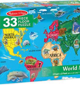 Melissa & Doug World Map Floor Puzzle 33 pc