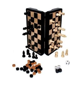 "John Hansen 8"" Magetic Dark Wood 3 In 1 Game Set"