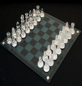 "John Hansen Glass Chess Set with Glass Chessmen 14"" x 14"""