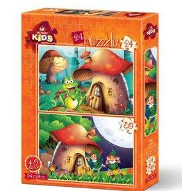 Art Puzzle Kids 24 pc each Mushroom House (2 Puzzles)