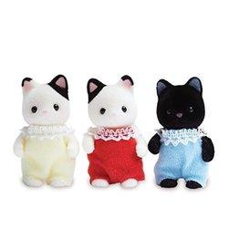 Calico Critters Tuxedo Cat Triplets