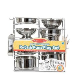 Melissa & Doug Deluxe Stainless Steel Pots & Pans Play Set
