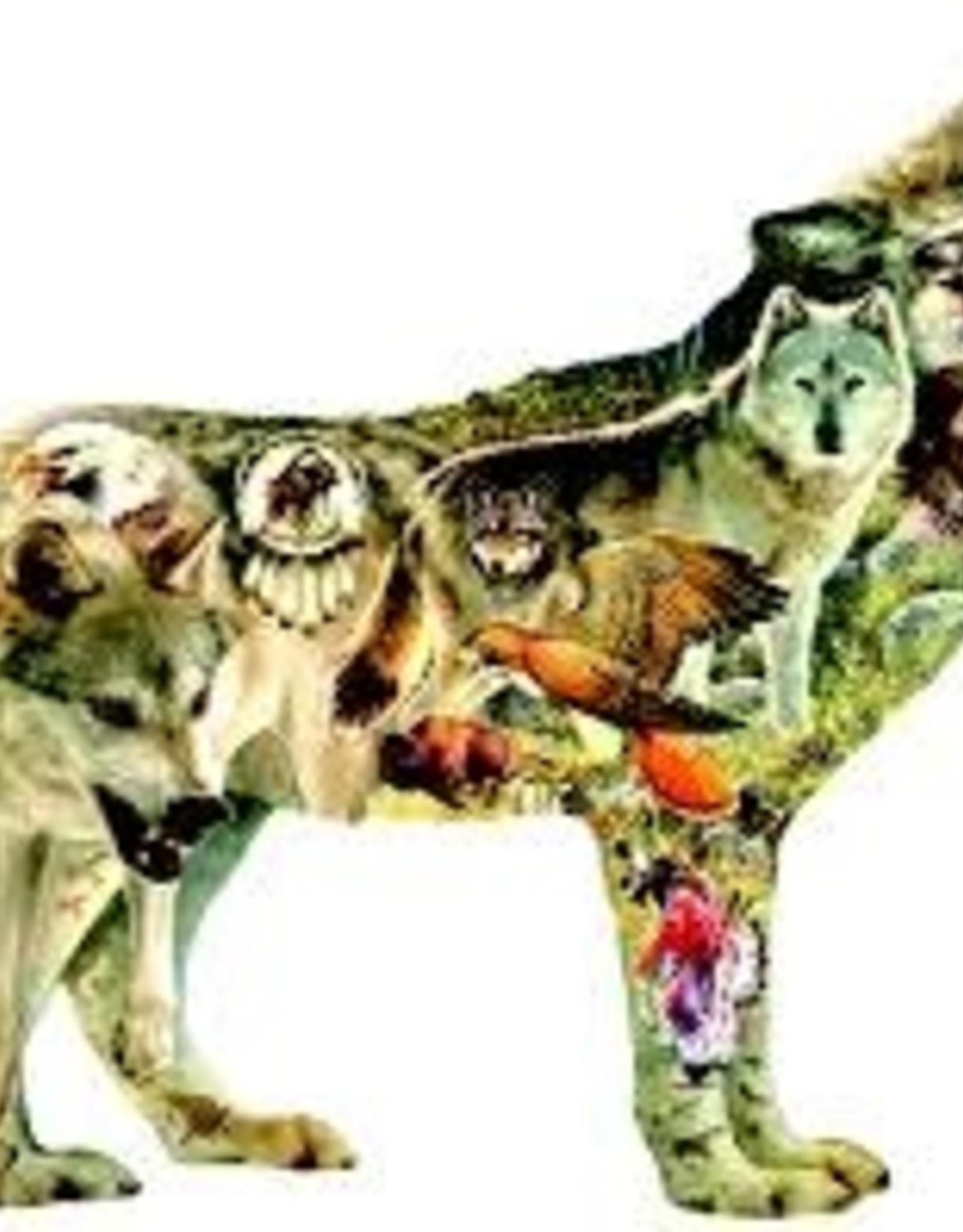 SunsOut 750 pc Native American Wolf - shape