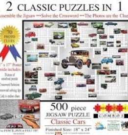 SunsOut 500 pc Classic Cars: 2 Classic Puzzles in 1