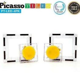 PicassoTile 4pc LED Magnetic Tiles Set