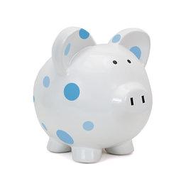 Child to Cherish Blue Multi Dot Piggy Bank