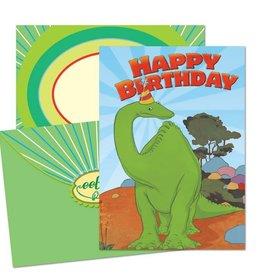 eeBoo Gertie Dinosaur in Hat Birthday Card