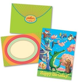 eeBoo Dancing Animals and Blossoms Birthday Card