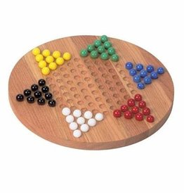 "Maple Landmark Chinese Checkers with Marbles 12"" Cherry Board"