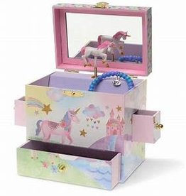 Jewelkeeper Party Unicorn Musical Jewelry Box- 3 Pullout Drawers