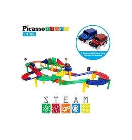PicassoTile 50pc Race Track Set w/ 2 LED Cars