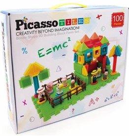PicassoTile 100 Piece Farm Theme Bristle Blocks