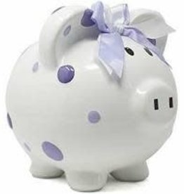 Child to Cherish Purple Polka Dot Piggy Bank