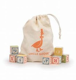 Uncle Goose Classic Alphabet Block Set with Canvas Bag
