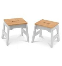 Melissa & Doug Wooden Stools - Set of 2 White and Natural