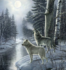 Cobble Hill Wolves by Moonlight 1000 pc