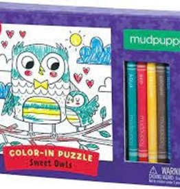 Mudpuppy Sweet Owls Color in Puzzle 24 pc