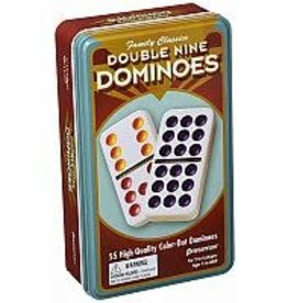 Pressman Double Nine Color Dot Dominoes in Tin