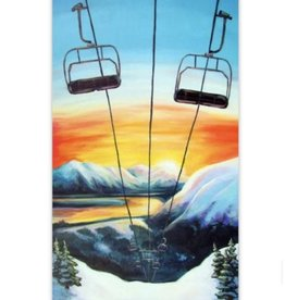 Amanda Rose Warren Girdwood Ski Lift at Sunset Sticker