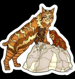 Alaska Wild and Free Bobcat with Kits Sticker