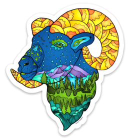 Alaska Wild and Free Mountain Sheep Sticker
