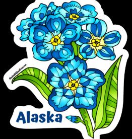 Alaska Wild and Free Forget Me Not Flowers Alaska Sticker