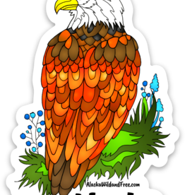 Alaska Wild and Free Bald Eagle Alaska Sticker