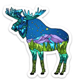 Alaska Wild and Free Mountain Moose Sticker