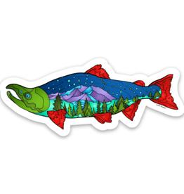 Alaska Wild and Free Mountain Salmon Sticker