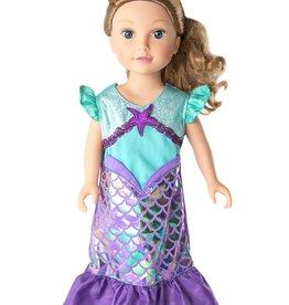 Little Adventures Doll Dress Purple Sparkle Mermaid