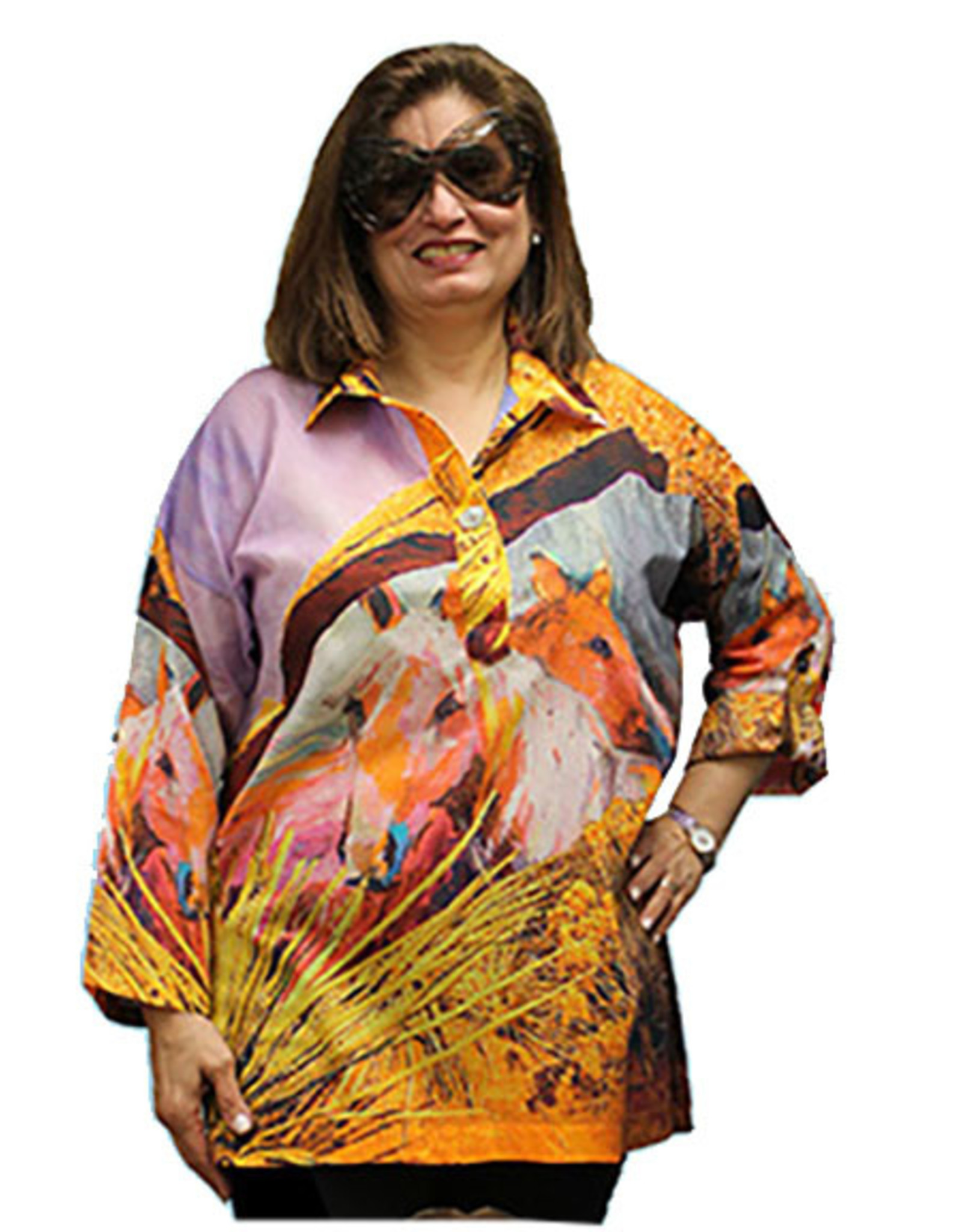 Dilemma Artist-Inspired (Roshan) Cotton Voile Tab-Sleeve Shirt One Size
