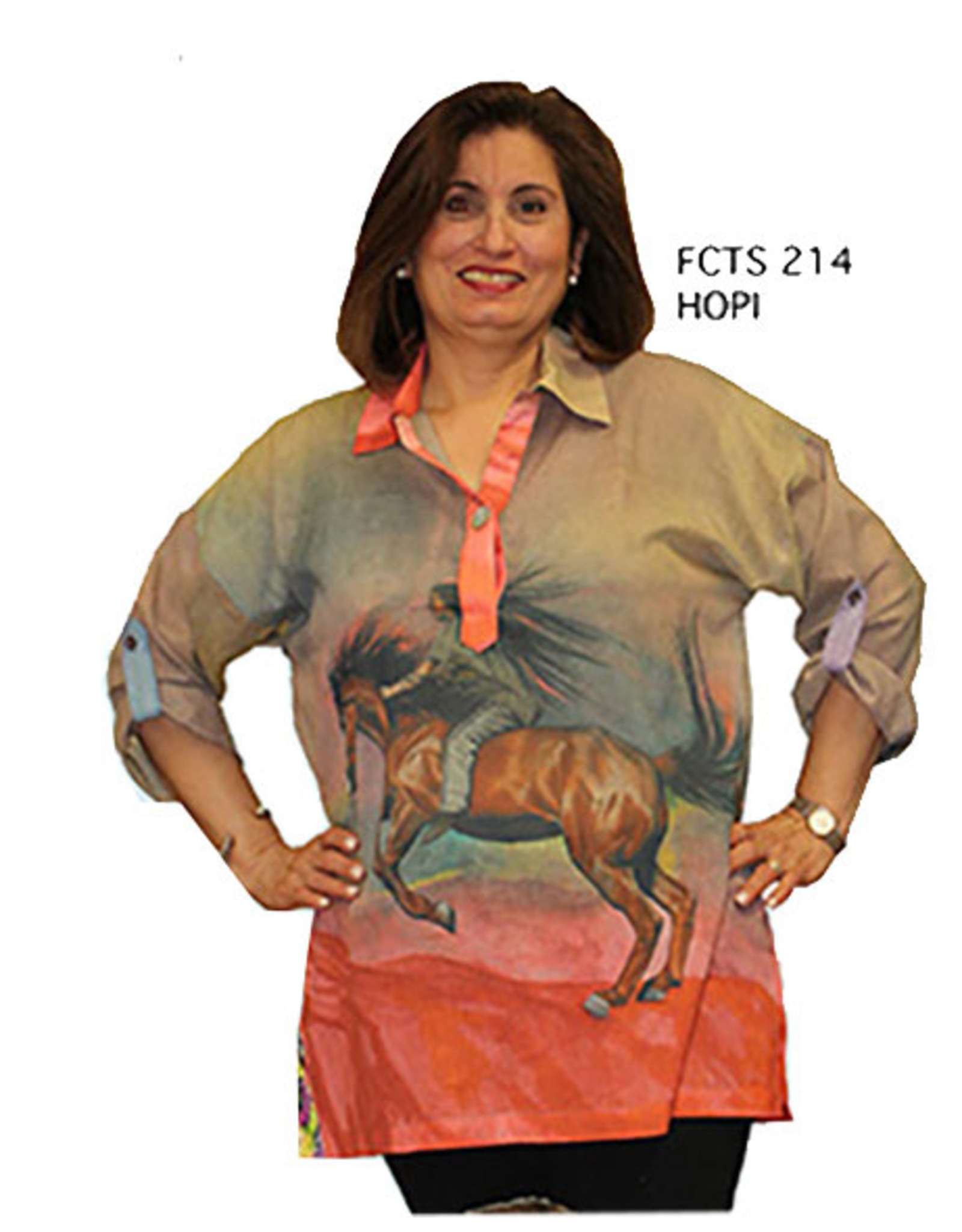 Dilemma Hopi Artist Cotton Voile Tab-Slv Shirt One Size