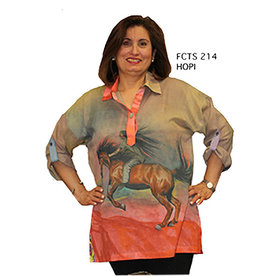 Dilemma Horse Painting Cotton Voile Shirt One Size